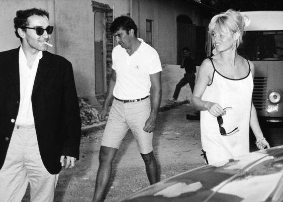 1963-Aux Studios Victorine à Nice Jean-Luc Godard et Brigitte Bardot: