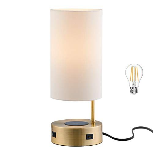Lampression Usb Nightstand Table Lamp With Wireless Charging Station For Bedroom Modern Bedside Lamp For Living R In 2021 Lamp Bedside Lamp Modern Bedside Table Lamps