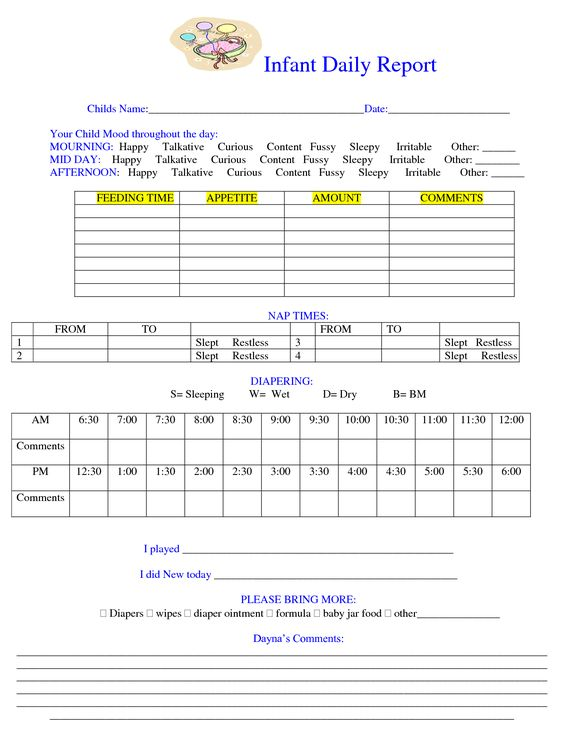 Baby Daily Sheet | Infant Daily Report - Download as DOC | Baby ...