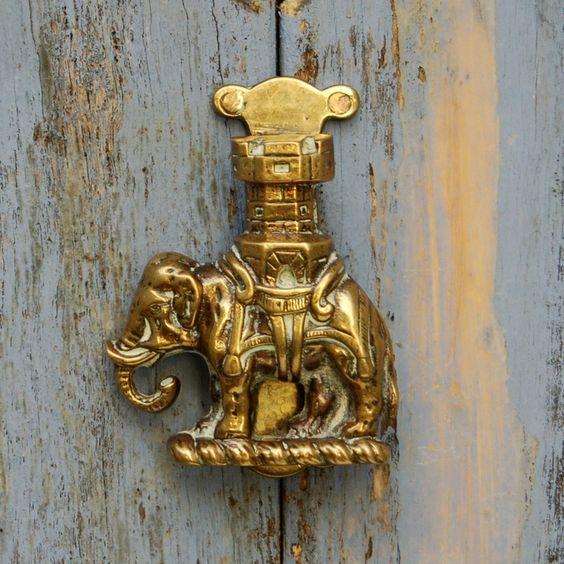 rare door knockers | Antique Elephant and Howdah Door Knocker Brass.