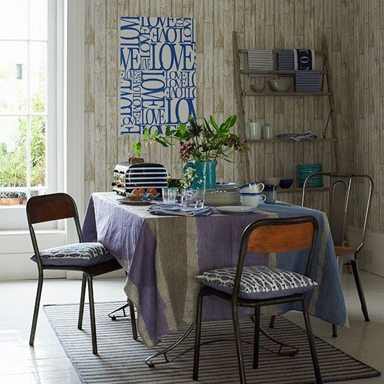 Dining room with wood-effect wallpaper   Dining room decorating