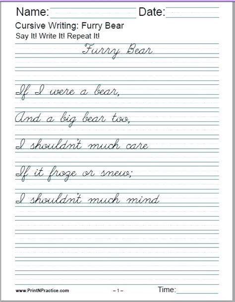 Free Printable Cursive Worksheets For 4th Grade In 2021 Cursive Writing  Worksheets, Cursive Handwriting Worksheets, Cursive Writing