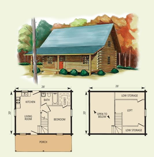 Cabin floor plans with loft hideaway log home and log for Small log cabin plans with loft