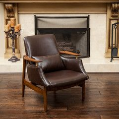 braselton brown leather wood frame armchair