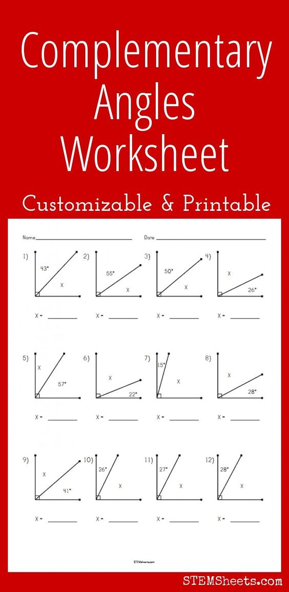 Complementary angles worksheet pdf