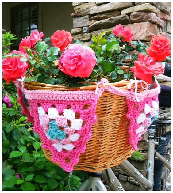 spring pink bicycle basket bunting by blissthings on etsy