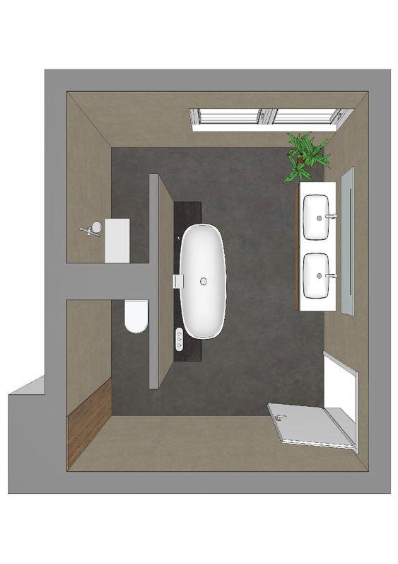 Badezimmerplanung mit T-Lösung Badarchitektur gut geplant - badezimmer 3x3 meter