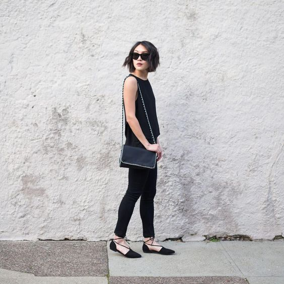 """"""" Back to black with @currentlylusting  #FOREVER21NOW Link in bio or  product codes- Chained Purse 00142221, Lace up flats 00165316, Layered top…"""""""
