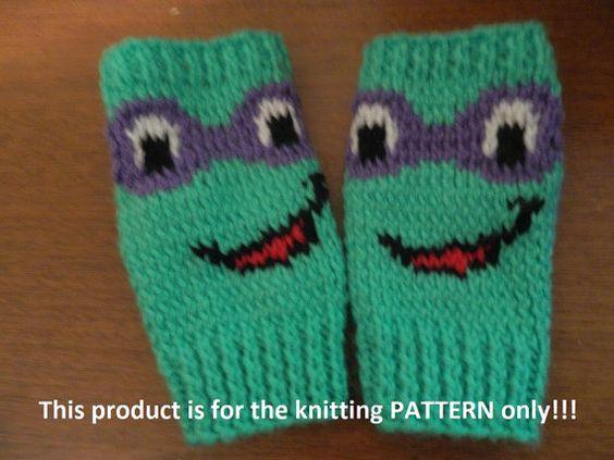 Knitting Pattern For Teenage Mutant Ninja Turtles : Knitting Pattern: Teenage Mutant Ninja Turtles Fingerless Gloves Turtles, K...
