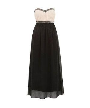 Black sequin bandeau maxi dress