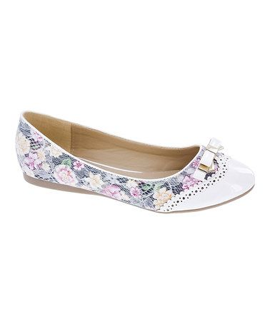 Look what I found on #zulily! White Lace Sarah Flat by Machi Footwear #zulilyfinds