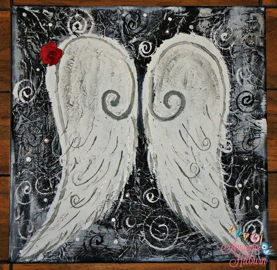 12x12 Mixed Media Canvas Wings Black and White by AmandaHilburnART, $80.00