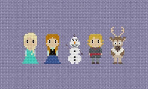 Congelado de patrones de punto de Cruz por GeekyStitches en Etsy