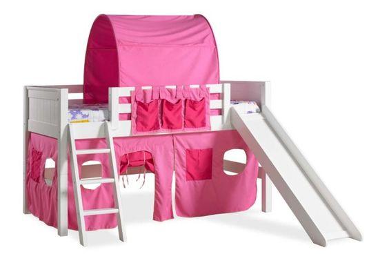 A cama beliche alta com escorregador da Croft House é uma cama básica que pode ser transformada em cama alta, beliche ou em um Loft cama alta com escrivaninha.