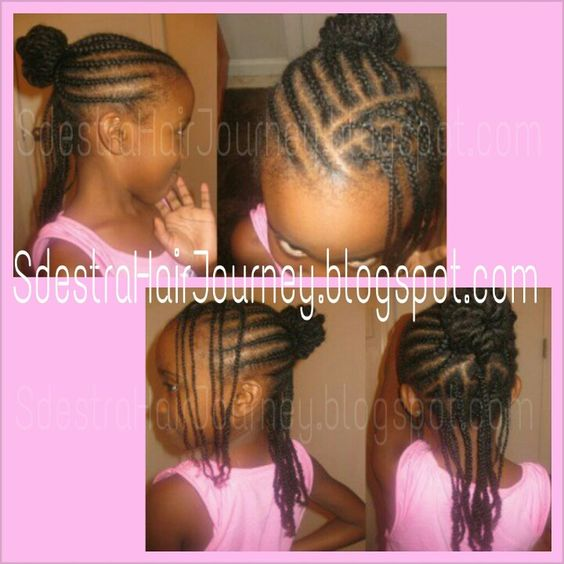 Cornrowed half up do with individual braids/plaits