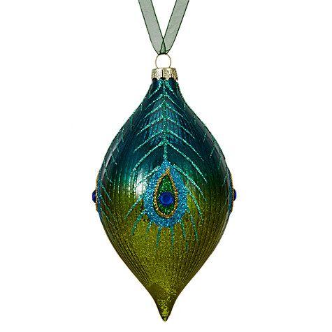Buy John Lewis Shangri-La Peacock Finial, Blue / Green Online at johnlewis.com