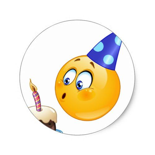 Birthday Emoji Classic Round Sticker Emoji Birthday Party Emoji Birthday Emoji