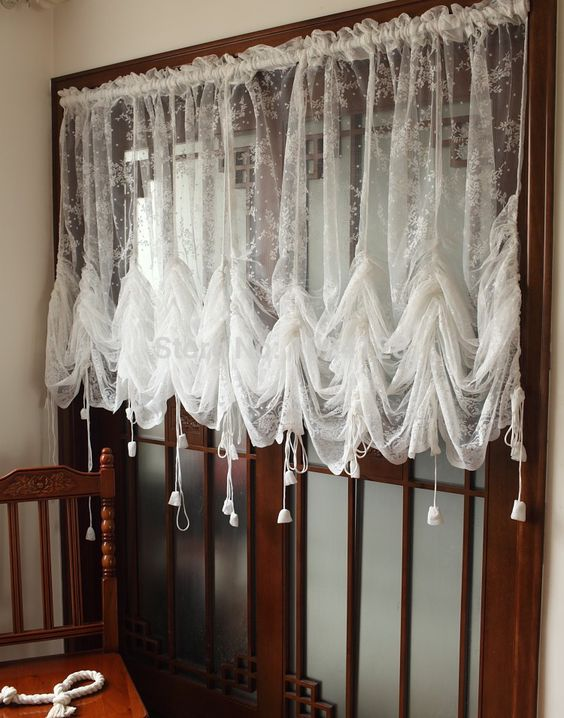 White Lace Roman shade Panel