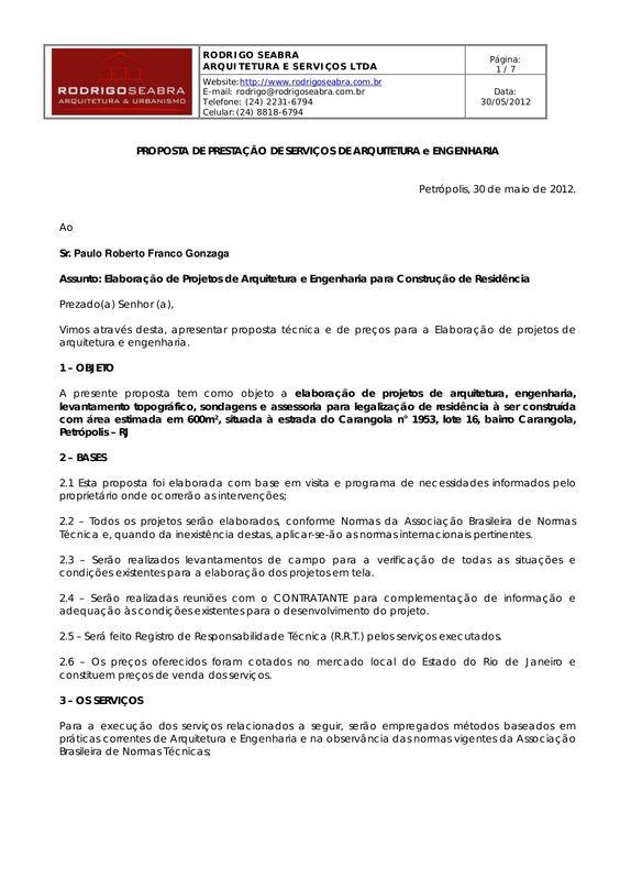 Proposta para elaboração dos projetos para a construção de minha residência no loteamento Sunn Side - Amoedo - Petrópolis/RJ by Paulo Gonzaga via slideshare