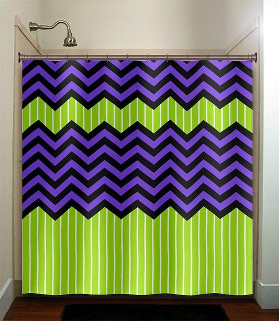 lime green stripe purple zig zag chevron shower curtain bathroom