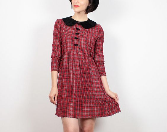 Vintage Red Tartan Plaid Dress 1990s Dress by ShopTwitchVintage