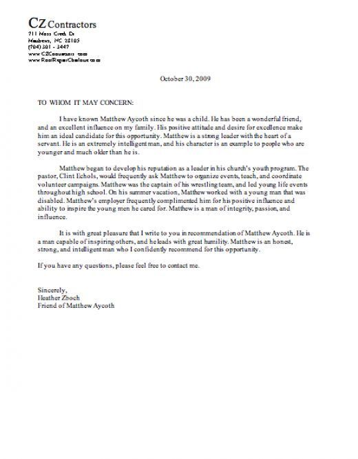Valid Sample Character Reference Letter For A Friend For You