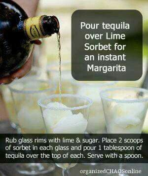 Pour tequila over lime sorbet!