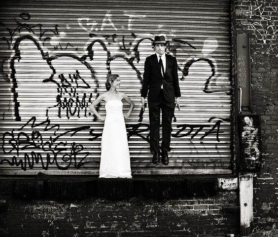 Graffiti wedding shot