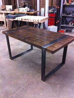 Industrial Dining Table Reclaimed Oak by WickedBoxcar on Etsy
