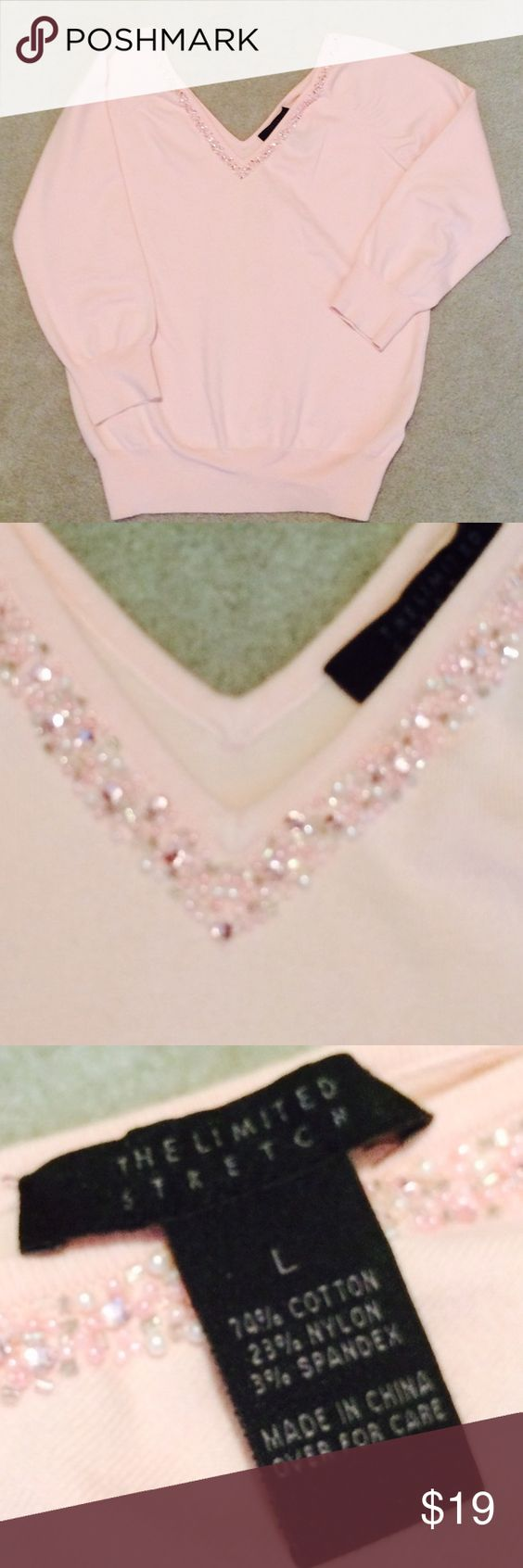 The Limited Pink Top The Limited Pink Knit Dress Top with Beading on the neckline. The Limited Tops