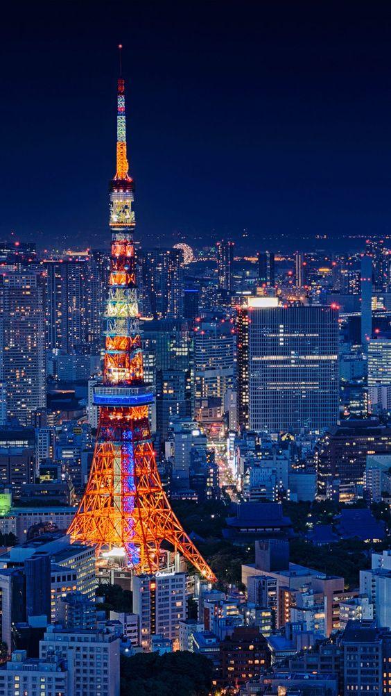 Tokyo Tower Nhật Bản Night Cityscape 4K Ultra HD Hình nền di động.