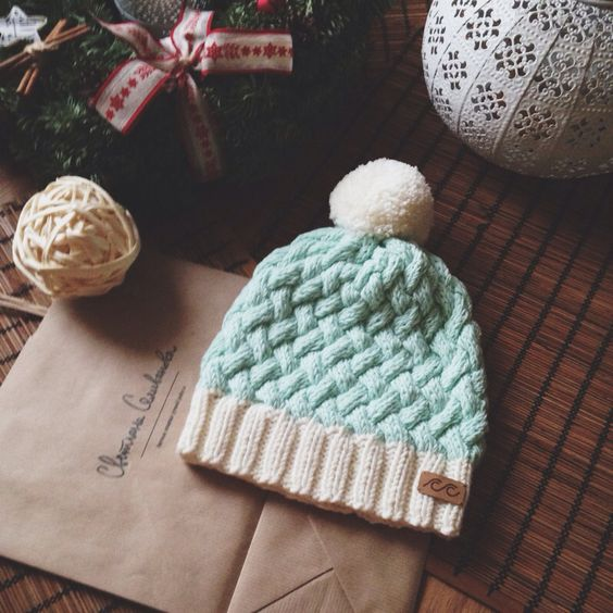 Basketweave hat - Spud and Chloe Sweater -  cream and mint or grey and mint