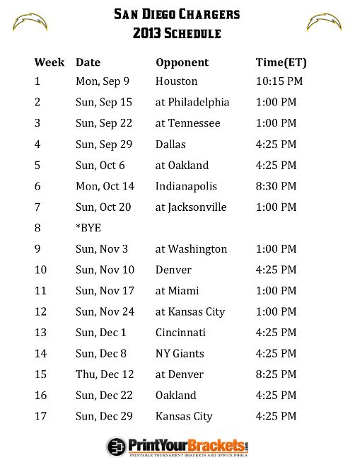 sd chargers 2013 schedule | Printable San Diego Chargers Schedule - 2013 Football Season
