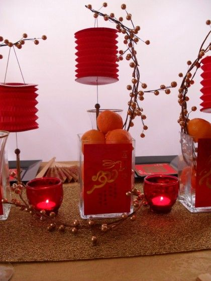 Red Lantern New Year Celebration And Centerpieces On