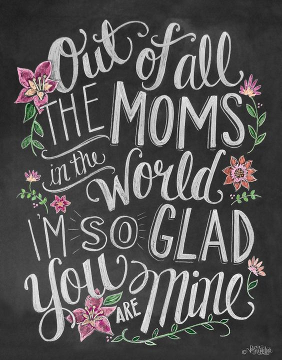 Mother's Day Card Card For Mom Chalkboard Art by LilyandVal: