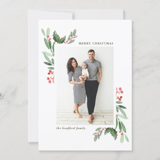 Watercolor Holly Berries And Greenery Photo Holiday Card Zazzle Com In 2020 Christmas Photo Card Template Holiday Photo Cards Family Christmas Cards