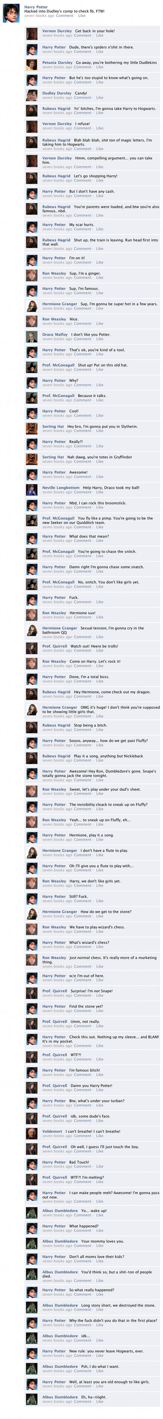 """The Entirety of """"Harry Potter and the Sorcerer's Stone"""" in one Facebook Thread......worthy of some giggles :P"""