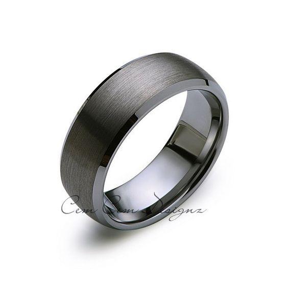 8mm,New,Unique,Gun Metal Gray Bushed,Tungsten Rings,Wedding Band,Matching,Bevel