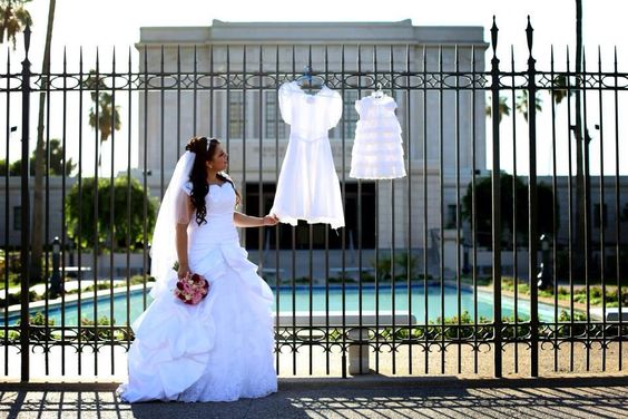 This picture is of the LDS faith and the 3 White Dresses that we wear in our life. Picture taken by Amy Jorgenson. ( That's me in the picture on my wedding day!!!)