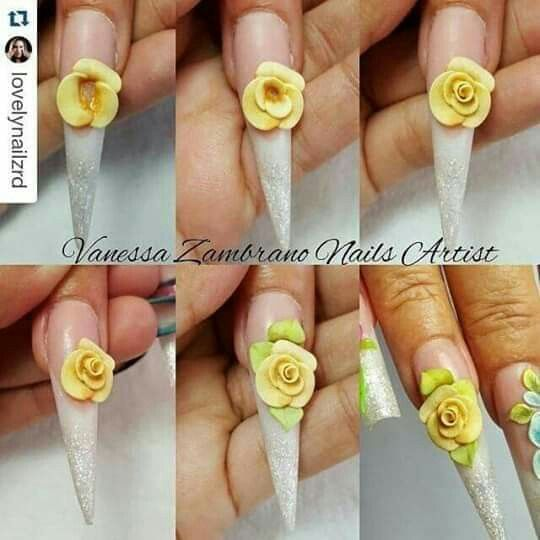 Pin By Aryeri De On Unas In 2020 3d Acrylic Nails Easter Nail Art Flower Nails