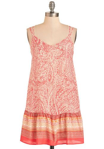 Pop of the Charts Dress. Start the morning with a burst of boldness from this paisley sundress. #coral #modcloth