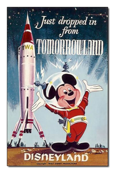 """The iconic Tomorrowland rocket is seen with Mickey Mouse in this """"Just dropped in from Tomorrowland"""" Disneyland postcard, 1957-1966."""