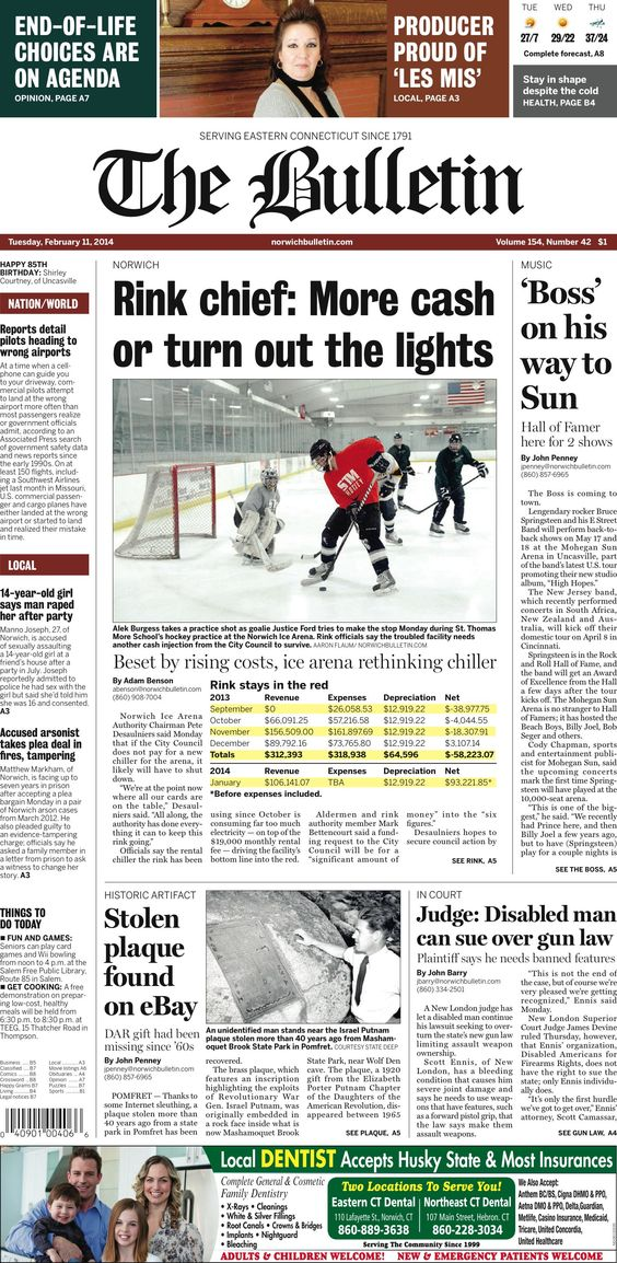Tuesday, February 11, 2014 - Subscribe to The Bulletin today: http://www.norwichbulletin.com/subscribenow #ctnews #newlondoncounty #windhamcounty