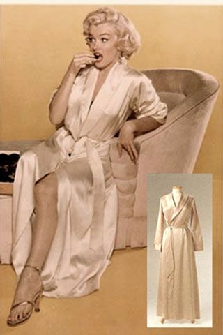 """Marilyn - satin robe """"The Marilyn Monroe Exhibit"""" at the Erno Lazlo Institute"""