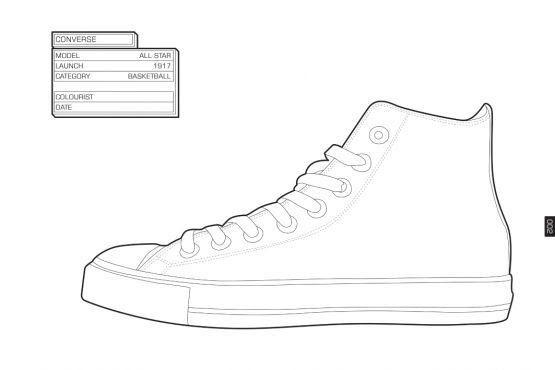 High Top Coloring Pages Zapatos Dibujos Zapatillas Pintadas A