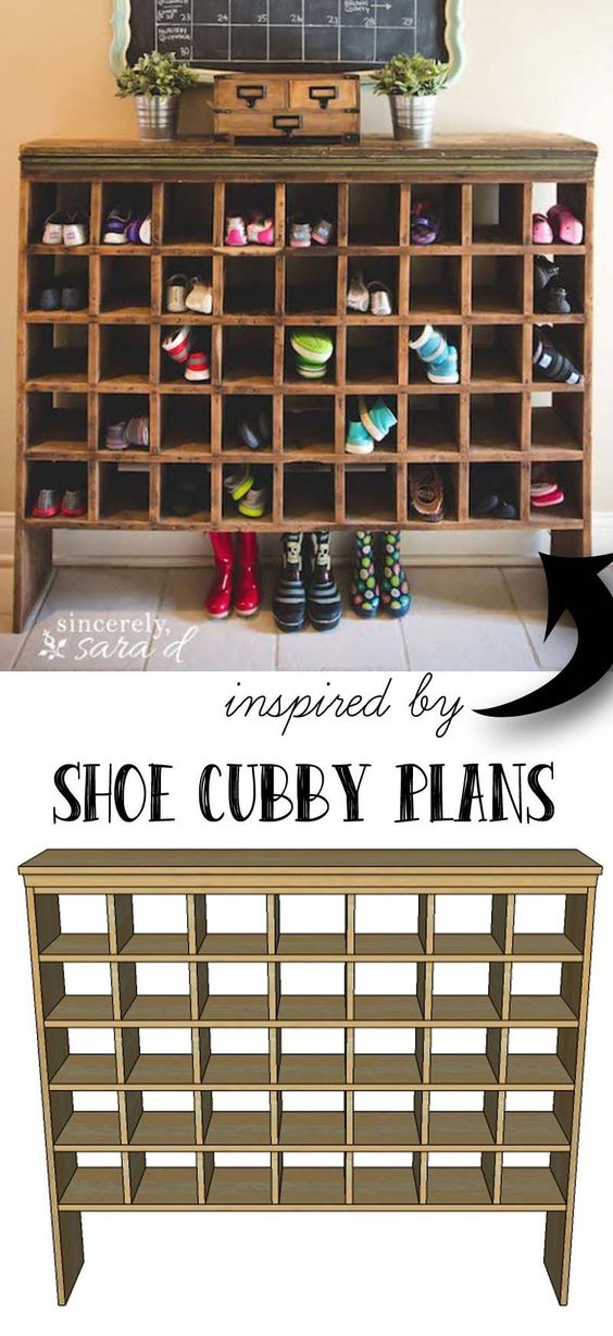 Free building plans for this mail sorter turned shoe cubby.: