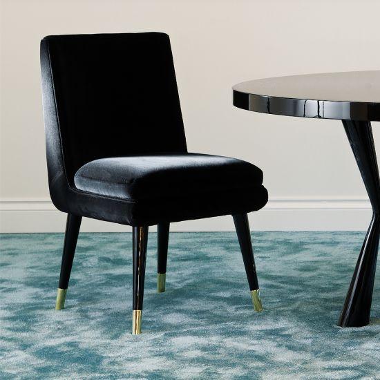 Modern Italian Luxury Black Velvet Dining Chair Dining Chairs