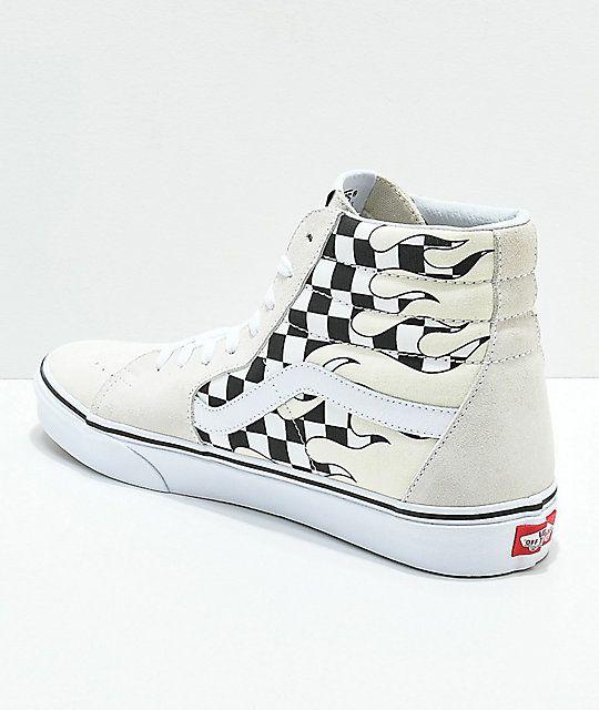 Vans Sk8 Hi Checkerboard Flame White Skate Shoes in 2020