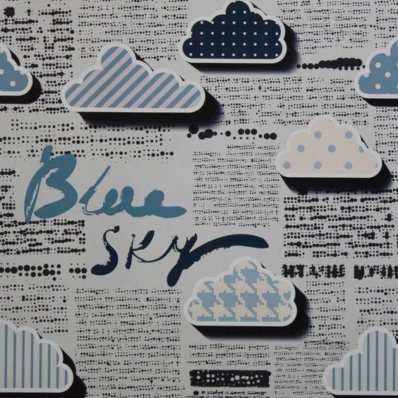 Papel de parede jornal estilizado nuvens 010
