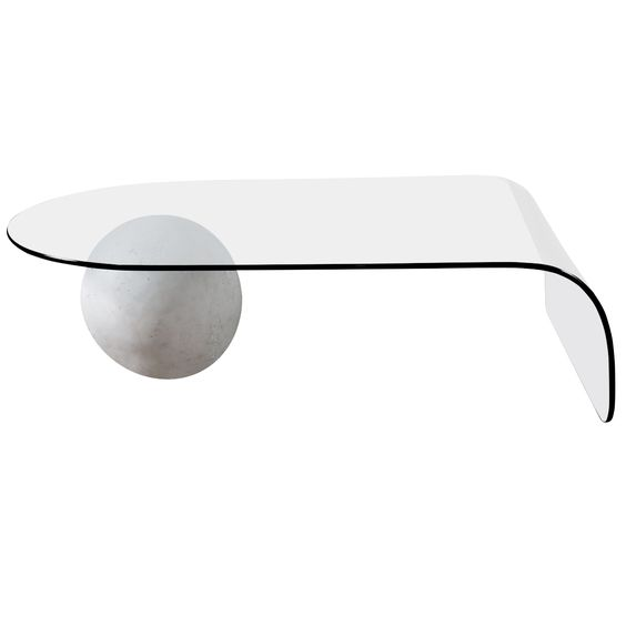 Glass Cocktail Table With Plaster Ball Base Modern Glass Coffee Table Coffee Table Design Marble Furniture Design